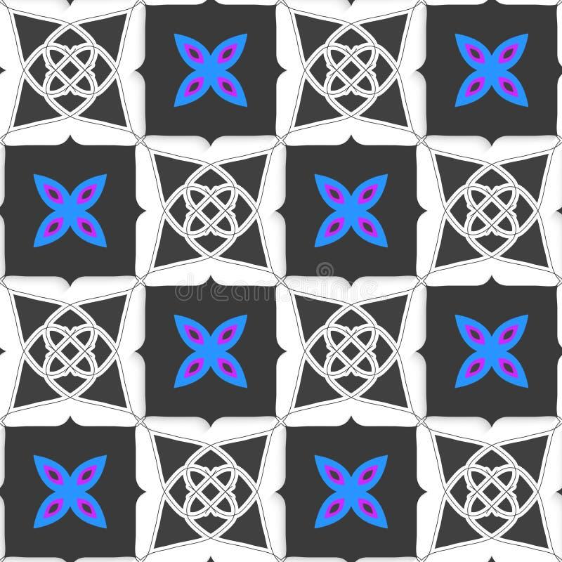 Geometrische Verzierung mit grauen Quadraten und blauer Blume stock abbildung