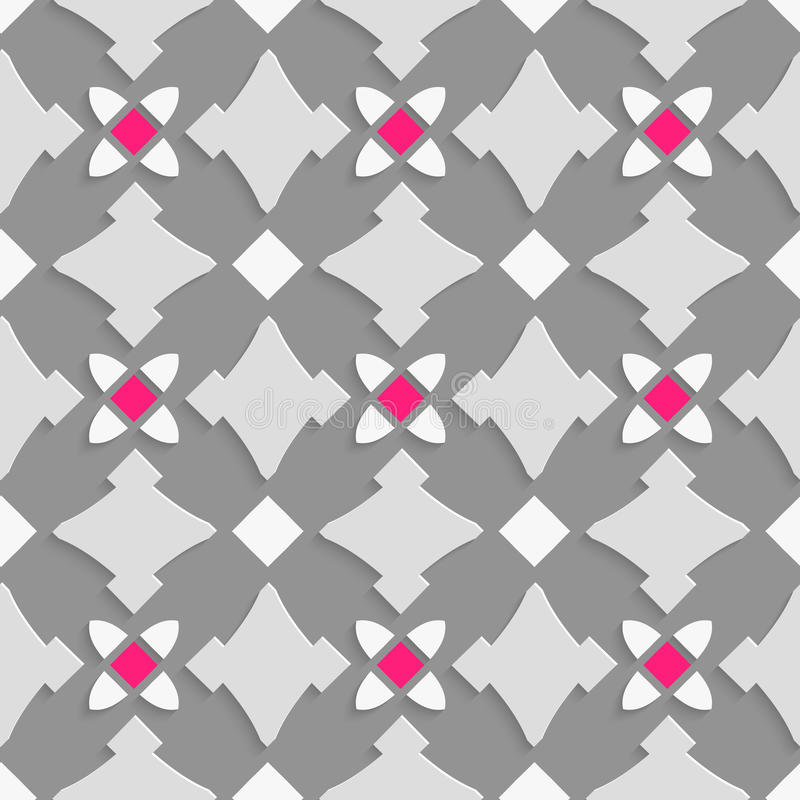 Geometrische Verzierung mit Schatten von grauen und rosa Quadraten vektor abbildung