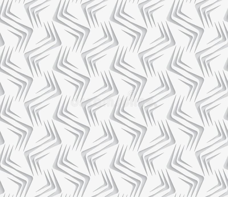 Geometrische Verzierung mit weißen Zickzacken auf weißem Hintergrund lizenzfreie abbildung