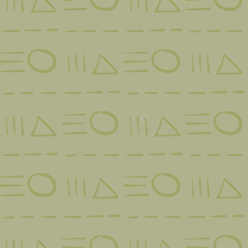 Geometrische Verzierung Nahtloses Muster des Olivgrüns vektor abbildung