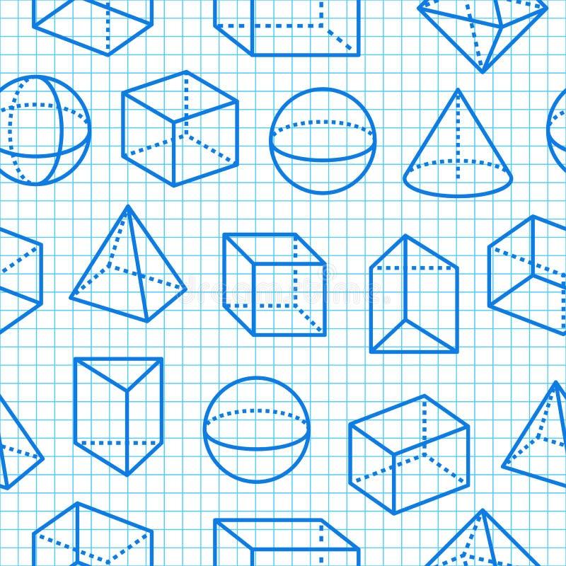 Geometrische vlakke de lijnpictogrammen van het vormen naadloze patroon Moderne abstracte achtergrond voor meetkunde, wiskundeond vector illustratie