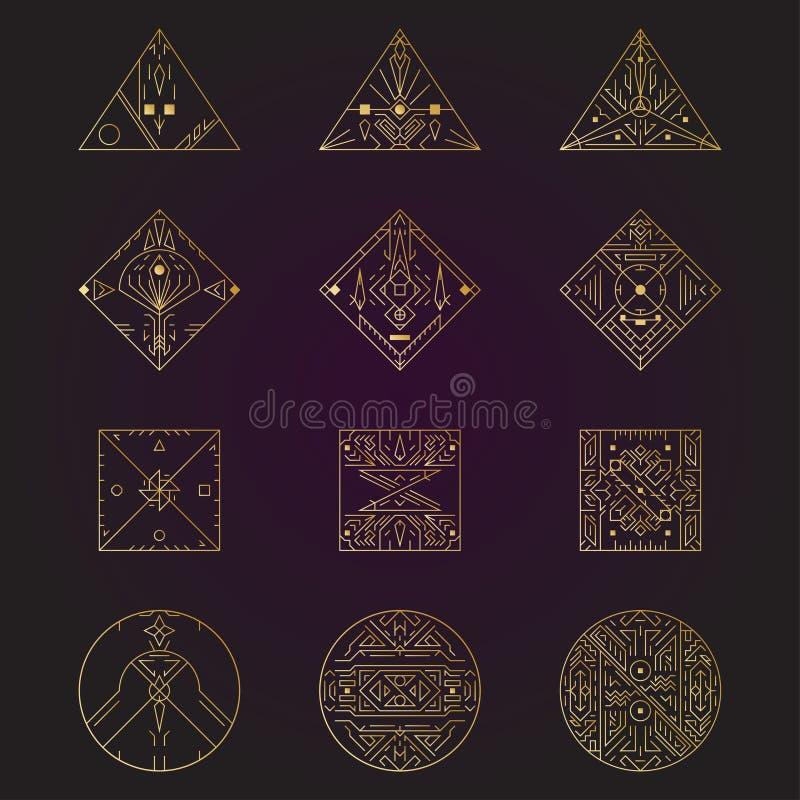 Geometrische vorm, abstracte reeks vectordeco gouden kaders De stijl 1920 ontwerp van de Hipster in lijn De grafische affiche van royalty-vrije illustratie