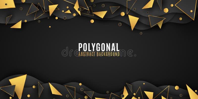 Geometrische vormenachtergrond Modieuze brochure voor uw ontwerp Document golven Lage polystijl Zwarte en gouden driehoeken vloei stock illustratie