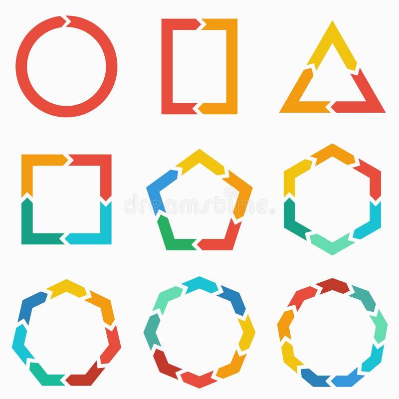Geometrische vormenpijlen voor infographic royalty-vrije illustratie