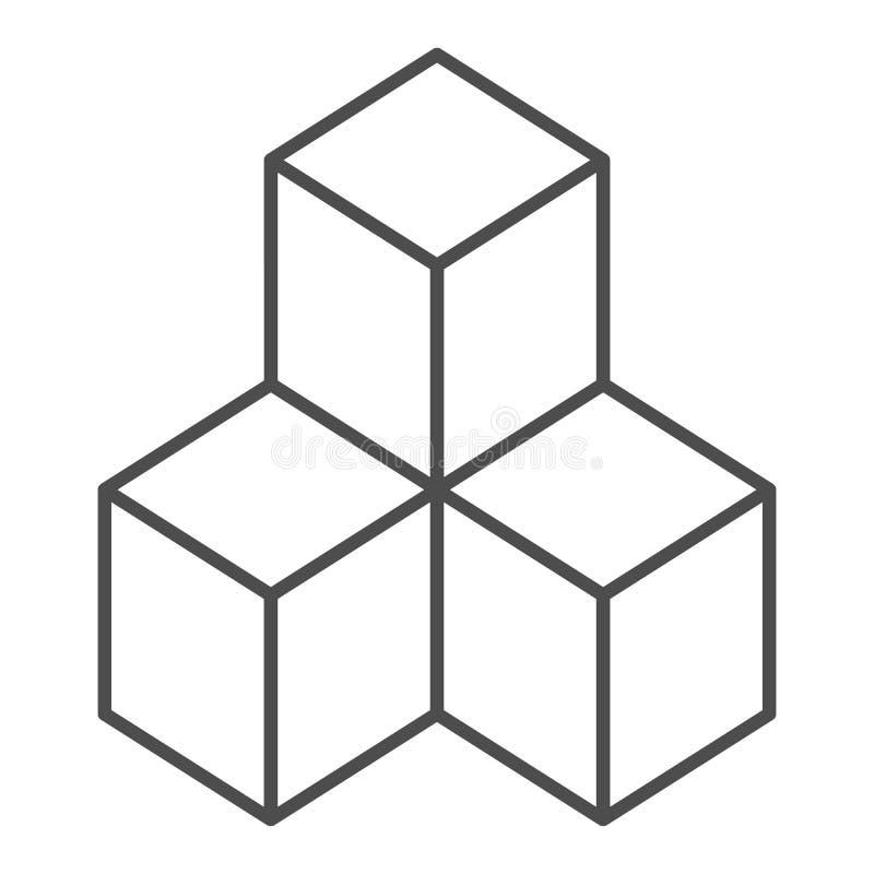 Geometrische Würfel verdünnen Linie Ikone Lösungsvektorillustration lokalisiert auf Weiß Blockentwurfs-Artentwurf, entworfen lizenzfreie abbildung