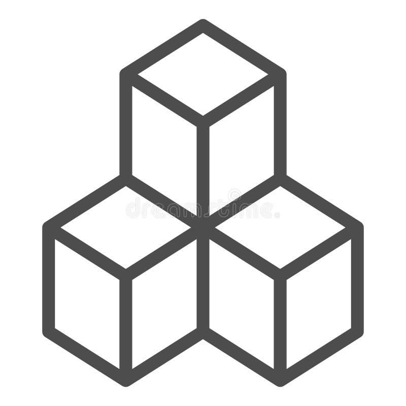 Geometrische Würfel zeichnen Ikone Lösungsvektorillustration lokalisiert auf Weiß Blockentwurfs-Artentwurf, bestimmt für Netz stock abbildung