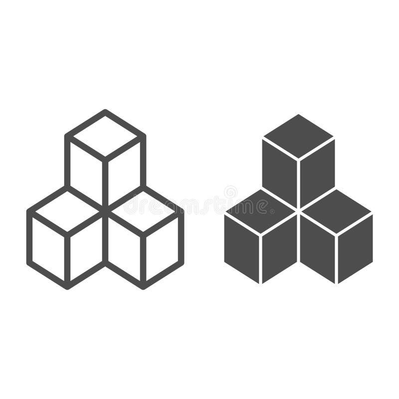 Geometrische Würfel zeichnen und Glyphikone Lösungsvektorillustration lokalisiert auf Weiß Blockentwurfs-Artentwurf vektor abbildung