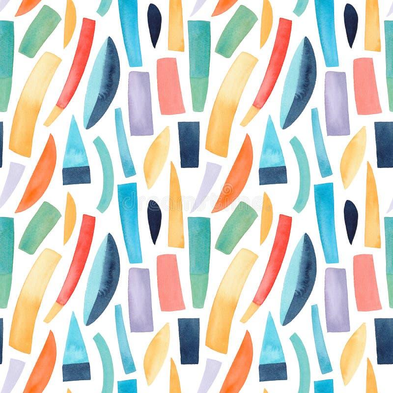 Geometrische waterkleur naadloos patroon met kleurrijke vormen Achtergrond waterkleurstructuur van plastic royalty-vrije illustratie