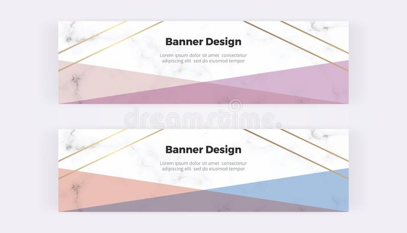 Geometrische Webbanners met roze, blauw en driehoeken en gouden lijnen op de marmeren textuur Moderne malplaatjes voor uitnodigin stock afbeeldingen