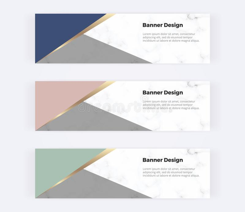 Geometrische Webbanners met roze, groene, blauwe en gouden driehoeken op de marmeren textuur Moderne malplaatjes voor uitnodiging vector illustratie