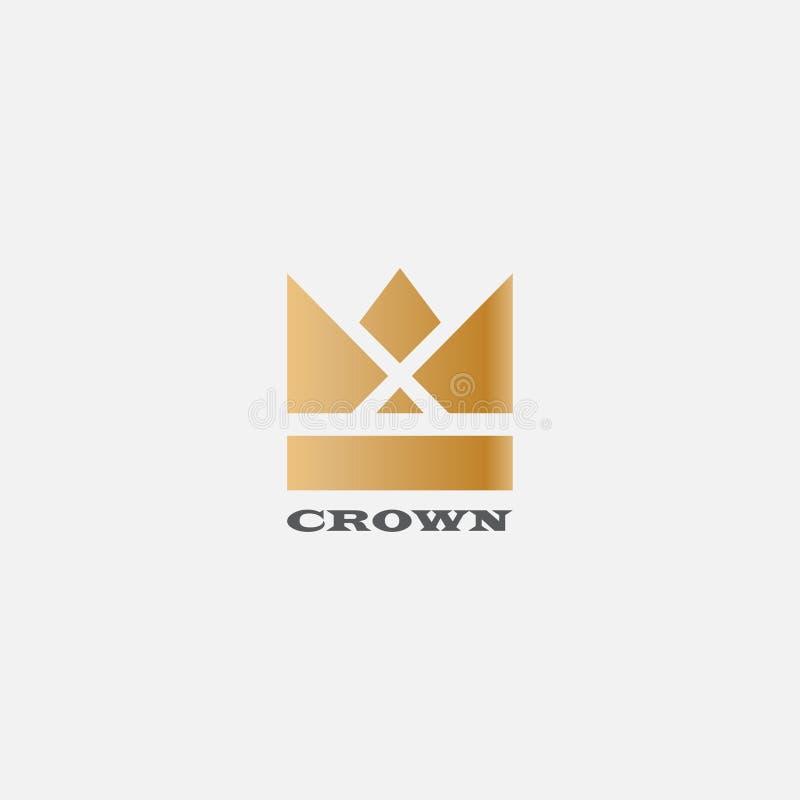 Geometrische Weinlese-Kronenzusammenfassung Logodesign-Vektorschablone Weinlese-Kronen-Logo Royal King Queen-Symbol Firmenzeichen lizenzfreie abbildung
