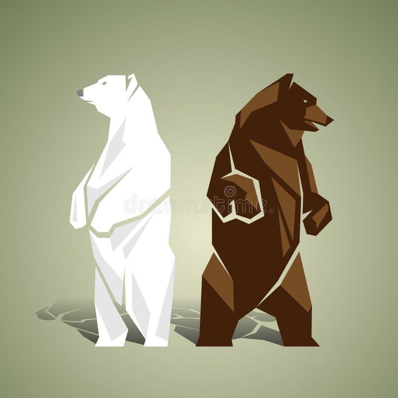 Geometrische witte en bruine beren vector illustratie