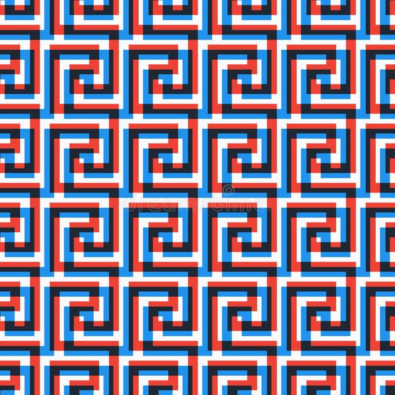 Geometrische Zeile abstraktes nahtloses Muster mit griechischem antikem Motiv lizenzfreie abbildung