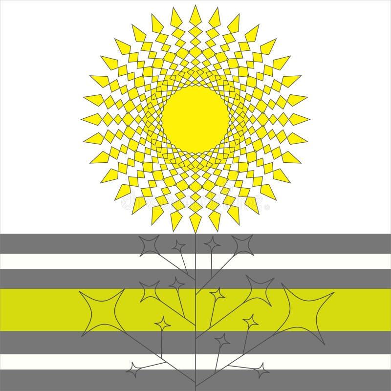 Geometrische zonbloem royalty-vrije illustratie