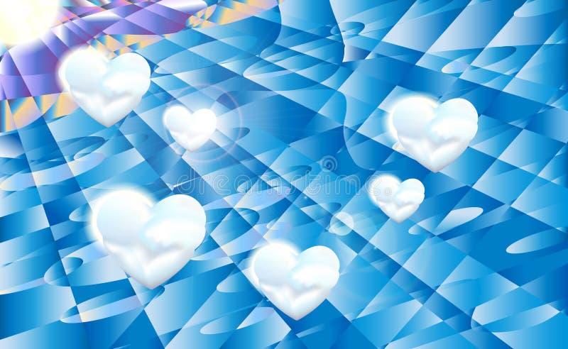 Geometrische zonlicht blauwe hemel als achtergrond met witte wolken en zon, vectorillustratie vector illustratie