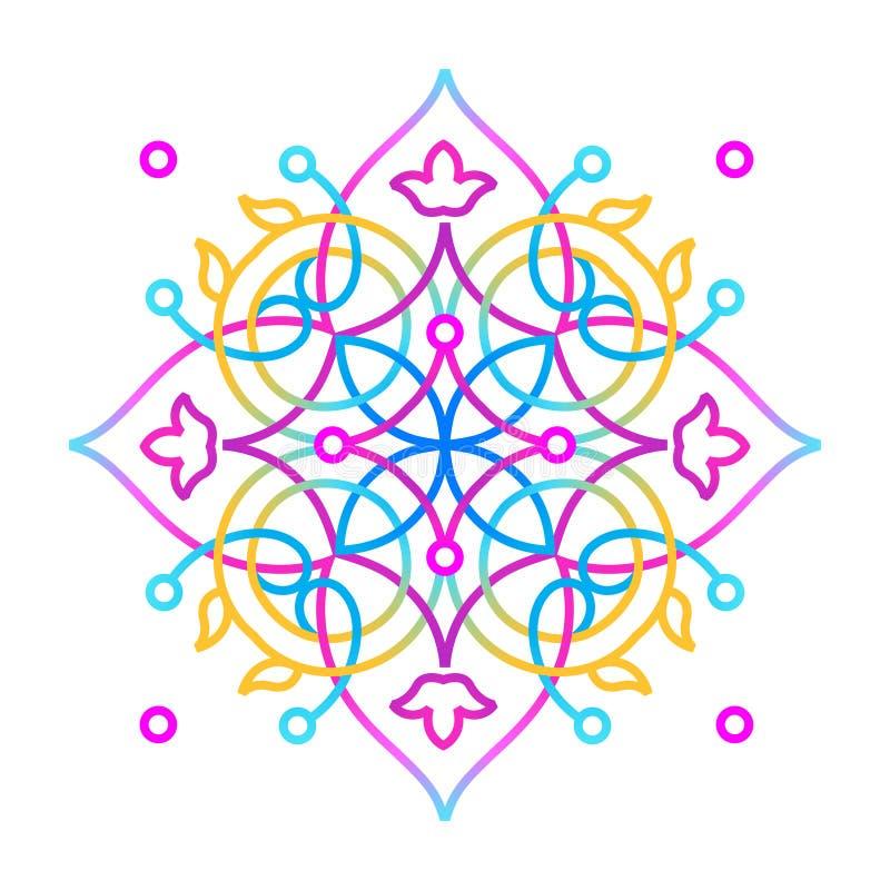 Geometrische zure mandala van de neonkleur Oostelijke stijl stock illustratie