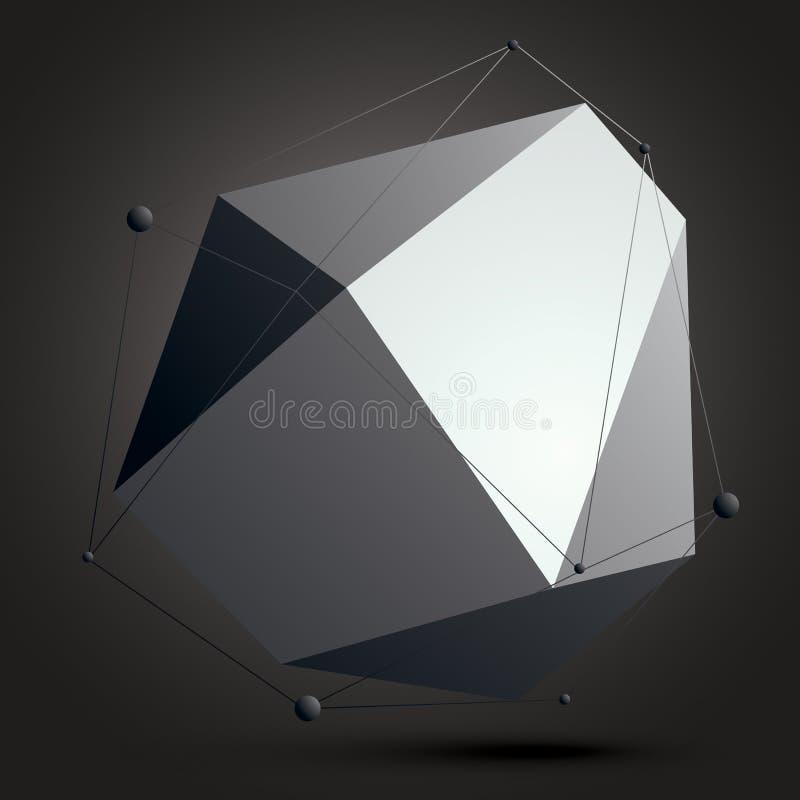 Geometrische Zusammenfassung 3D erschwerte Gittergegenstand über dunklem backg vektor abbildung