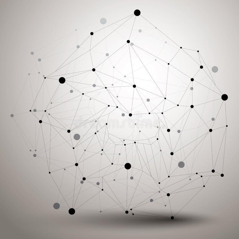 Geometrische zwart-wit veelhoekige structuur met modern lijnennetwerk, stock illustratie