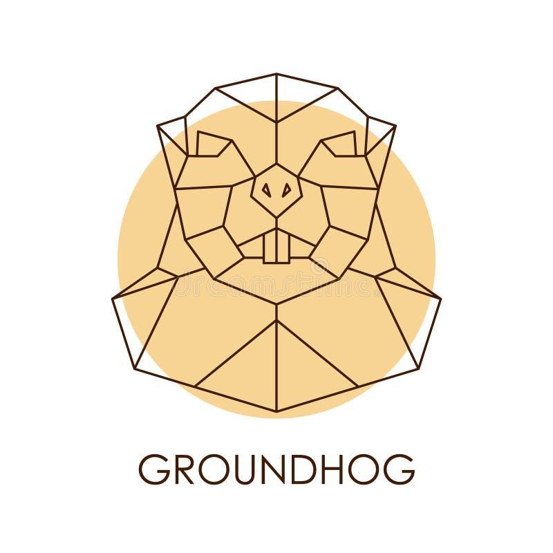 Geometrischer abstrakter groundhog Kopf stock abbildung