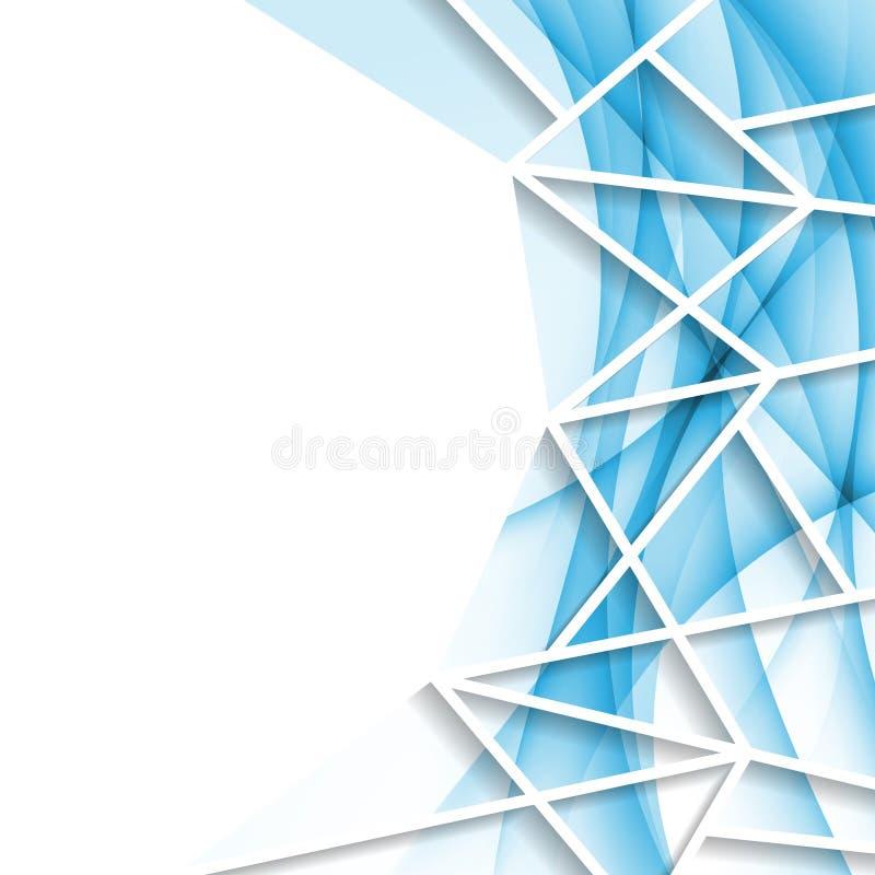 Geometrischer abstrakter Hintergrund der hellen blauen Welle stock abbildung