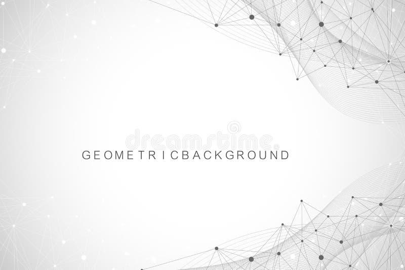 Geometrischer abstrakter Hintergrund mit verbundenen Linien und Punkten Wellenfluß Molekül und Kommunikations-Hintergrund graphik stock abbildung
