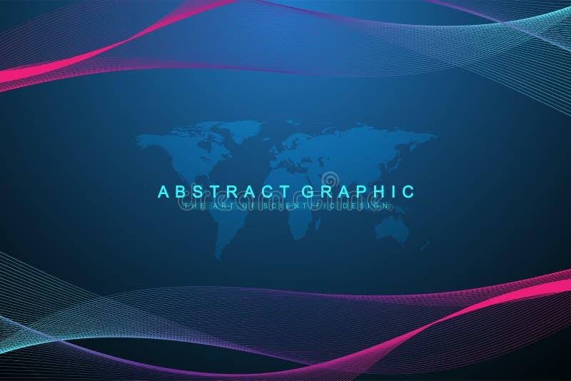 Geometrischer abstrakter Hintergrund mit verbundenen Linien und Punkten Wellenfluß Molekül und Kommunikations-Hintergrund graphik vektor abbildung