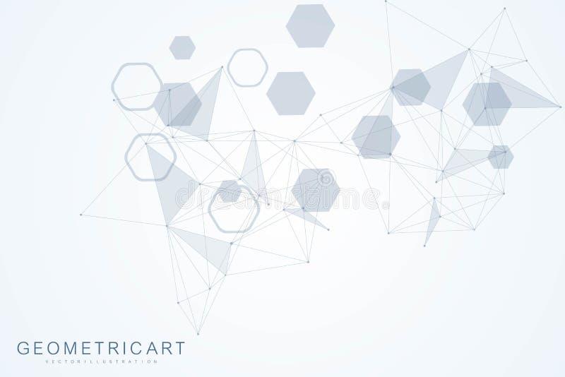 Geometrischer abstrakter Hintergrund mit verbundener Linie und Punkten Strukturmolekül und -kommunikation Große Datensichtbarmach vektor abbildung