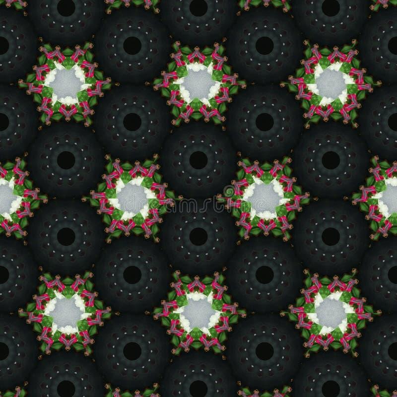 Geometrischer abstrakter schwarzer, roter, grüner, weißer, grauer digitaler Hintergrund mit kybernetischen Partikeln stock abbildung