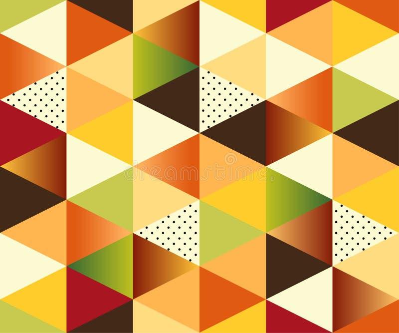 Geometrischer Autumn Seamless Pattern mit Dreiecken stock abbildung