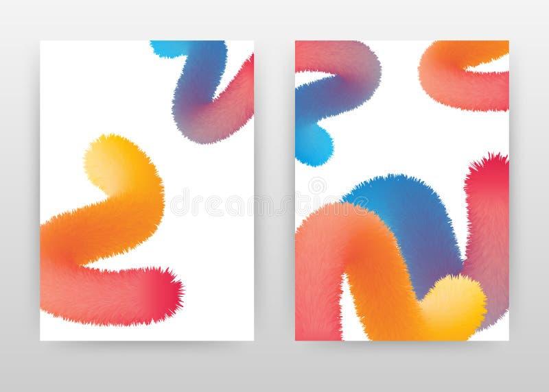 Geometrischer bunter flaumiger Geschäftsentwurf für Jahresbericht, Broschüre, Flieger, Plakat Blauer roter gelber flaumiger Hinte lizenzfreie abbildung