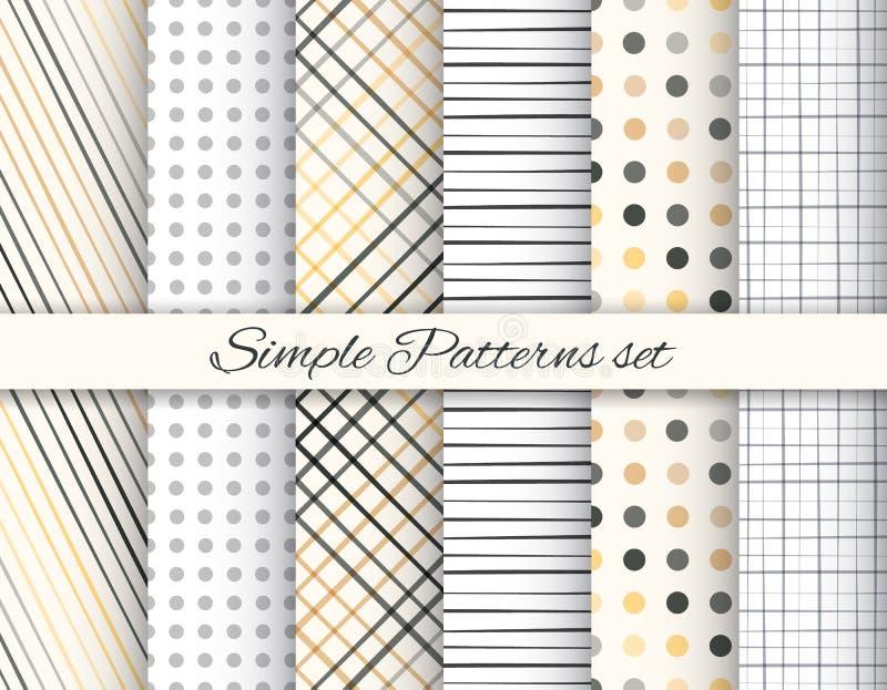Geometrischer eleganter beige und grauer nahtloser Mustersatz vektor abbildung