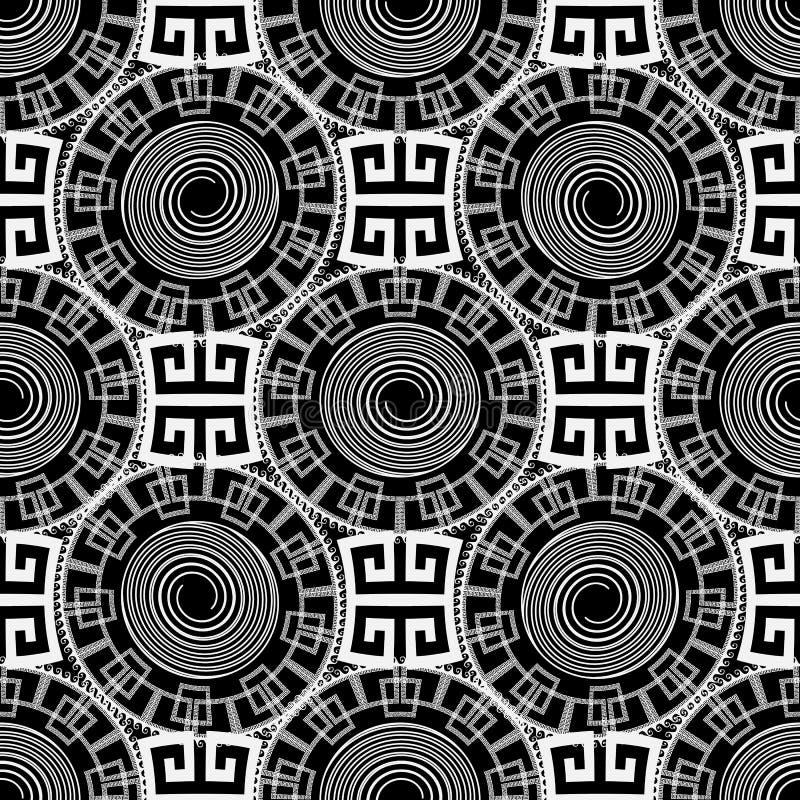 Geometrischer griechischer Schlüssel schlängelt sich nahtloser Klaps des Schwarzweiss-Vektors vektor abbildung