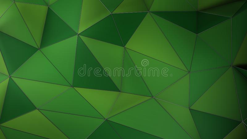 Geometrischer Hintergrund der grünen Plexuszusammenfassung mit Dreiecken 3d übertragen stock abbildung