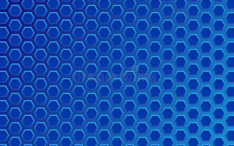 Geometrischer Hintergrund der Technologie mit blauer Hexagonbeschaffenheit lizenzfreie abbildung