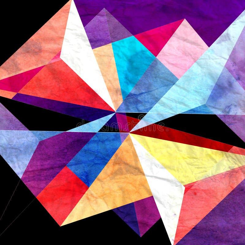 Geometrischer Hintergrund des abstrakten Aquarells stock abbildung