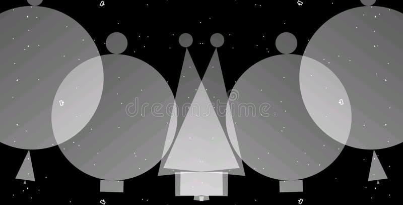 Geometrischer Hintergrund des abstrakten Grayscale Geometrische Formen entwerfen mit schwarzem Hintergrund lizenzfreie abbildung