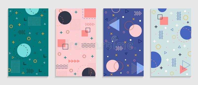 geometrischer Hintergrund von Memphis mit abstrakten Formen Grafikmuster, Textur für Plakate, Karten, Social-Media-Cover Funky Ab stock abbildung