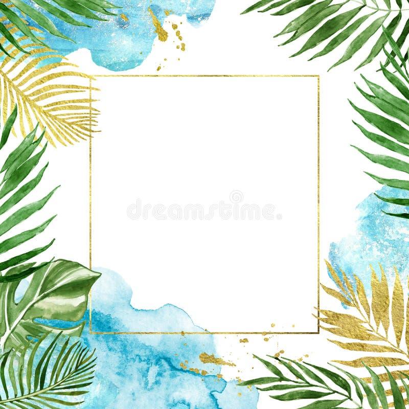 Geometrischer mit Blumenrahmen des Aquarells Goldmit den tropischen Blättern lokalisiert lizenzfreie abbildung