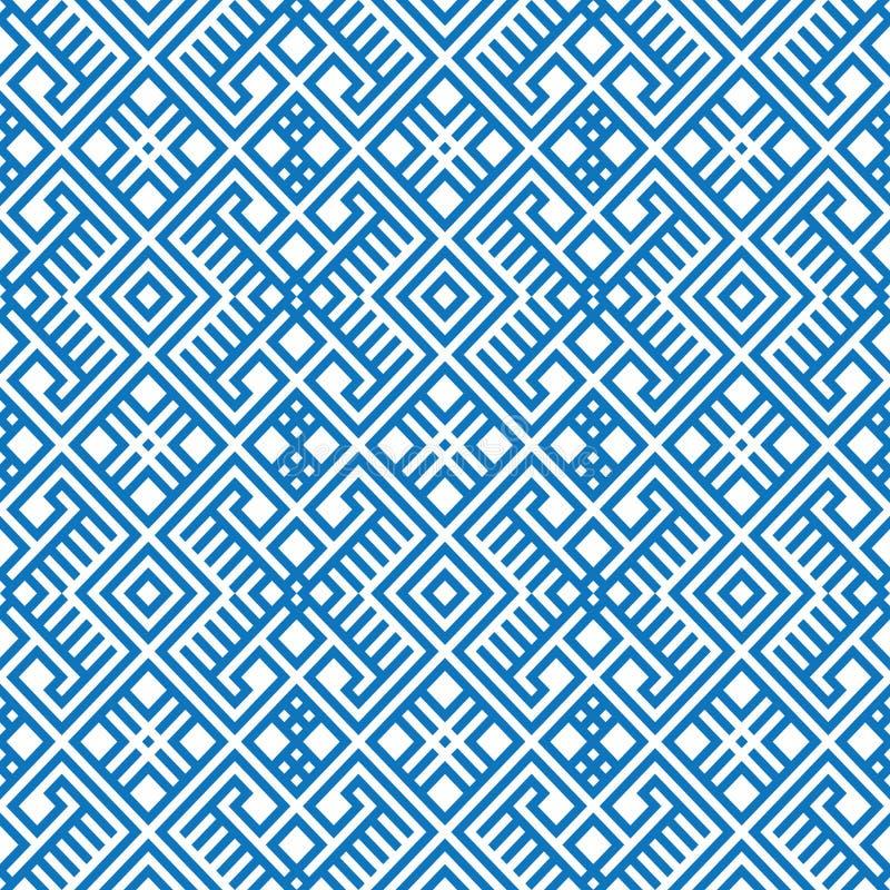 Geometrischer nahtloser ethnischer Musterhintergrund in den blauen und weißen Farben vektor abbildung