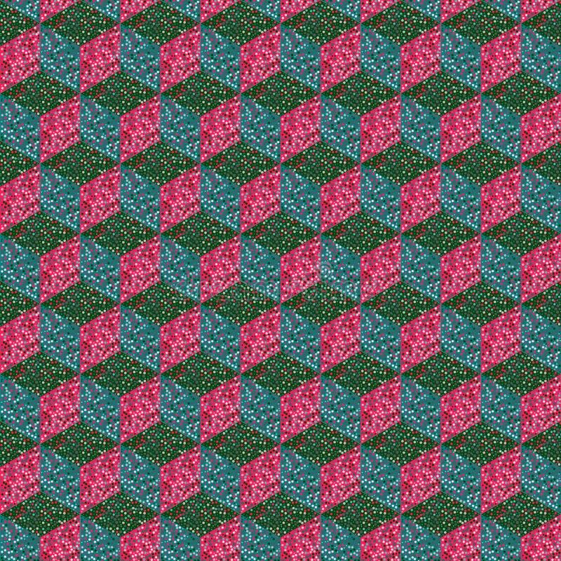 Geometrischer nahtloser Hintergrund des Würfels im Tupfen lizenzfreie abbildung
