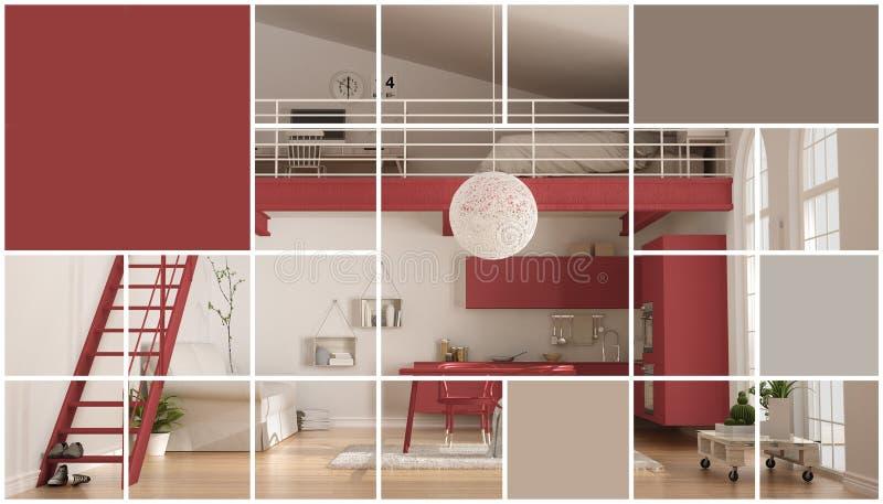 Geometrischer quadratischer Mosaikgraphikeffekt mit Kopienraum für Text, zeitgenössischer Dachboden, Konzeptinnenraum stockfotos