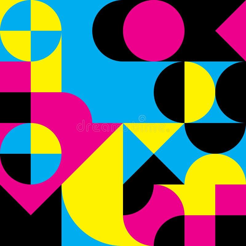 Geometrischer Retro- Entwurf der Zusammenfassung Nahtloses Muster des Vektors in CMYK-Farben lizenzfreie abbildung