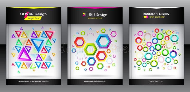 Geometrischer Satz der Broschüre des Hexagons, des Dreiecks und der runden Formen lizenzfreie abbildung