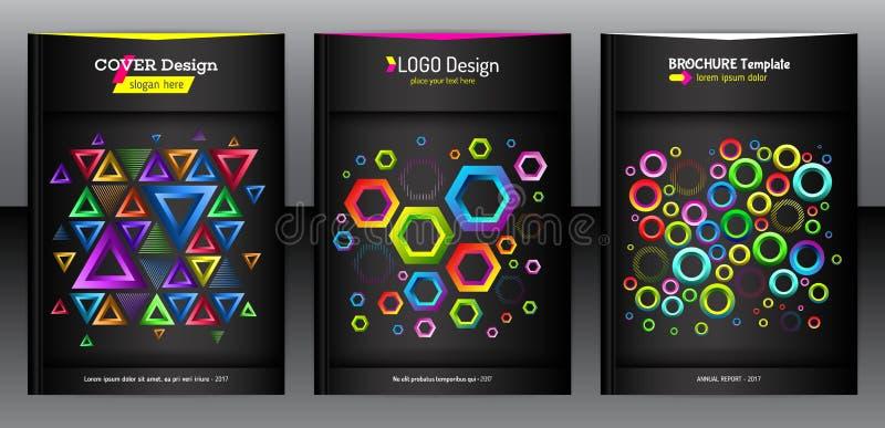Geometrischer Satz der Broschüre des Hexagons, des Dreiecks und der runden Formen stock abbildung