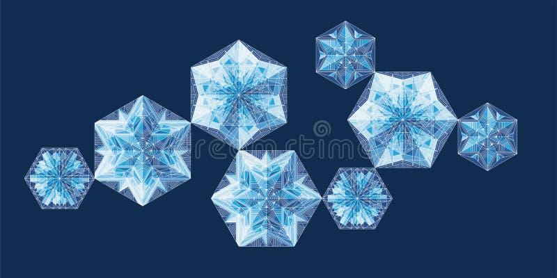 Geometrischer Schneeflockenvektor-Illustrationssatz vektor abbildung