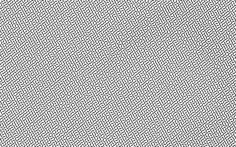 Geometrischer Schwarzweiss-Hintergrund mit kleinen nach dem Zufall zerstreuten Linien Kreative Hippie-Muster Vektorillustration vektor abbildung