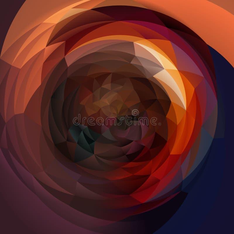 Geometrischer Strudelhintergrund der modernen Kunst - dunkelbraun, purpurrot, Burgunder, Blau, Orange und Rot gefärbt lizenzfreie abbildung