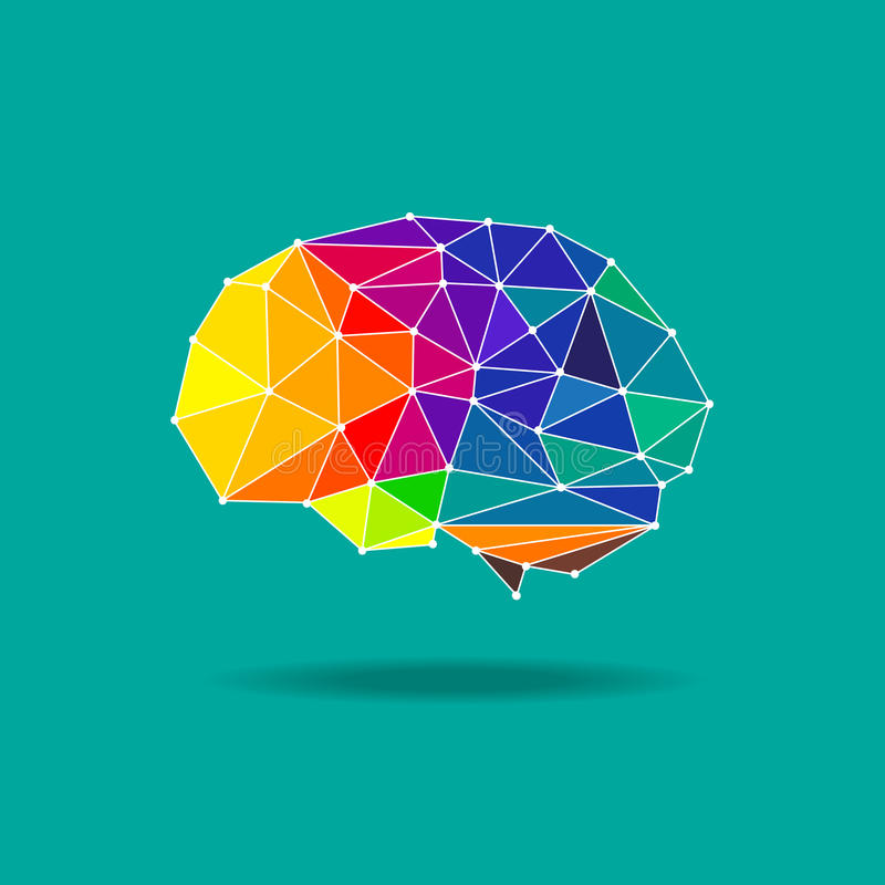 Geometrischer Vektor des Gehirns lizenzfreie stockbilder
