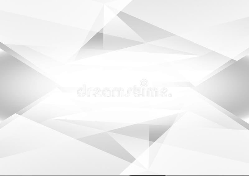 Geometrischer Vektorhintergrund der grauen und weißen Farbzusammenfassung und hellgraues, modernes Design mit Kopienraum stock abbildung