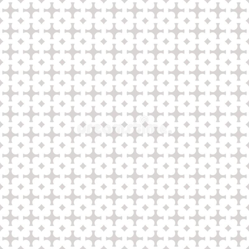 Geometrischer Verzierungshintergrund des Vektors Graues und weißes abstraktes nahtloses Muster stock abbildung